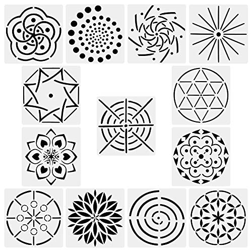 (COCODE Mandala Dot Painting Stencils Template Set of 13, Mandala Dotting Stencils for Rocks Stone Wall Art, Canvas, Wood Furniture Painting, DIY Drawing Art)