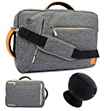 """VanGoddy Professional 3 In 1 Messenger Backpack Briefcase Bag for Dell Inspiron 14 3000 14"""" / Inspiron 15 3000 5000 7000 Series 15.6"""" Laptop + Bluetooth Suction Speaker Gray"""