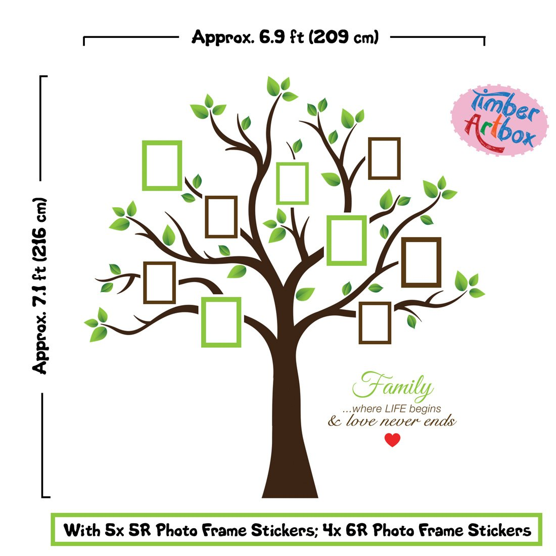 Buy Timber Artbox Large Family Tree Photo Frames Wall Decal - The ...