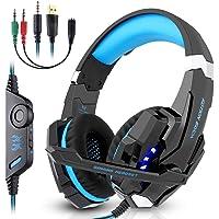 Kotion Each PS4 Gaming Headset PC mit Mikrofon LED Xbox One Headset Band Pro Stereo Kopfhörer Über-Ohr-Bass Noise Cancelling Stereo-Kopfhörer Handy spiele PC Multimedia Laptop Mac PS4 G9000 Blau