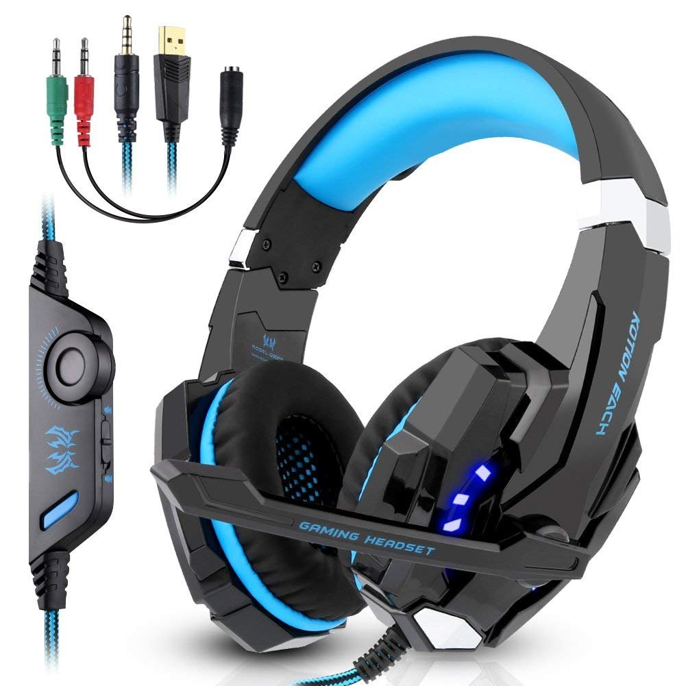 Gaming Headset, Candywe G9000 3.5mm Stereo Gaming Headphone for PS4, PC, Xbox One Controller, Wired Headset Earphone Headband with Microphone LED Light, Volume Control, Noise Canceling, Bass Surround by Candywe