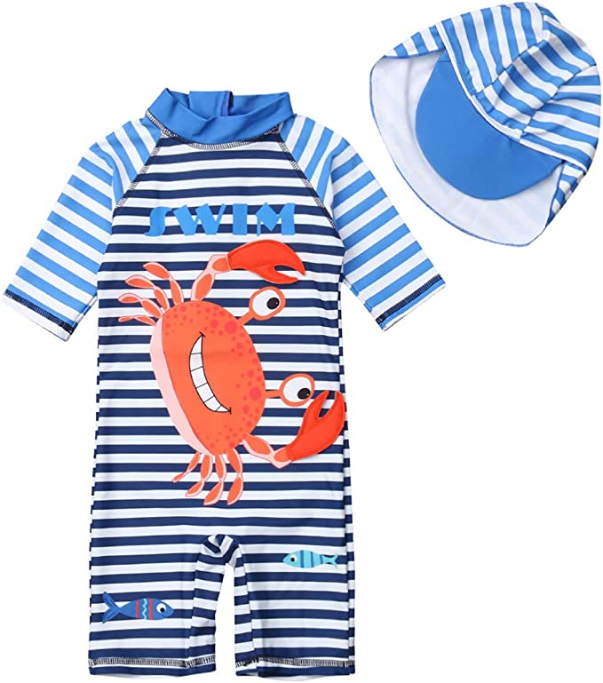 Kids Baby Boys Girls Crab One-Pieces Rash Guard Half Sleeve Swimsuit Sun Protection Bathing Suit Beach wear