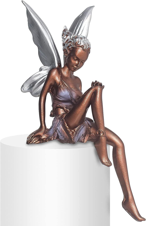 Sitting Fairy Statue Garden Turek and Tudor Sitting Fairy Tale Statue Sitting Fairy Garden Angel Statuette Resin Craft Beautification Yard Decoration Garden Art Desk Fairy Tale Small Sculpture (Brown)