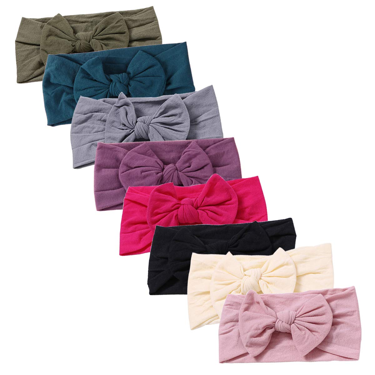 Baby Girl Nylon Headbands Newborn Infant Toddler Hairbands and Bows Child Hair Accessories (AM05-8pcs)