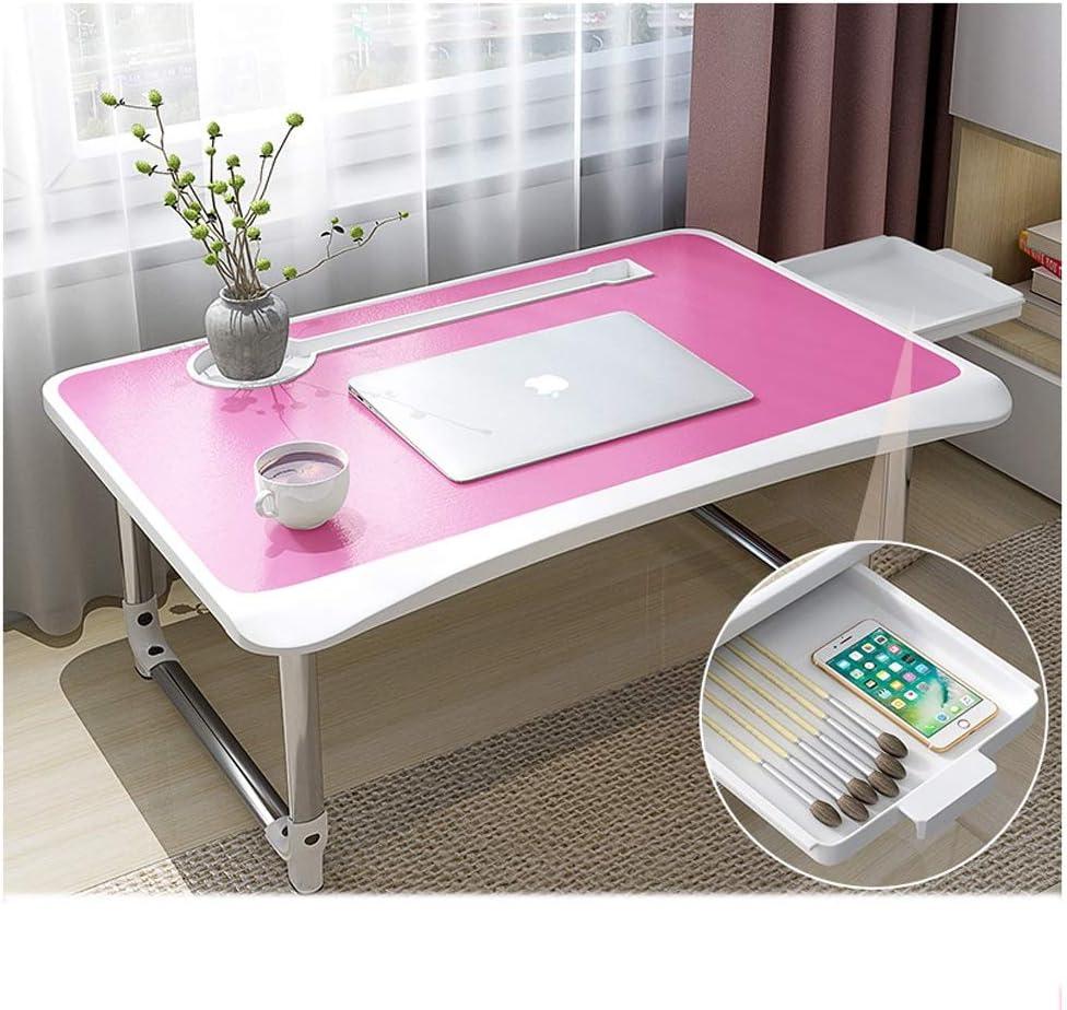 折りたたみノートパソコンテーブル 子供用 ライティングデスク 寮 ノートテーブル ホーム レイジー折りたたみ読書テーブル ベッド用 小さな木製オフィスデスク 引き出し付き ピンク NUODE5156