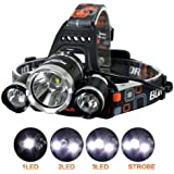 CDC® Super Bright Battery Powered Rechargeable Helmet Light, 3xCREE XM-L T6 LED Focus Waterproof Headlight Flashlight for Hiking Camping Climbing Cycling Fishing Security Light