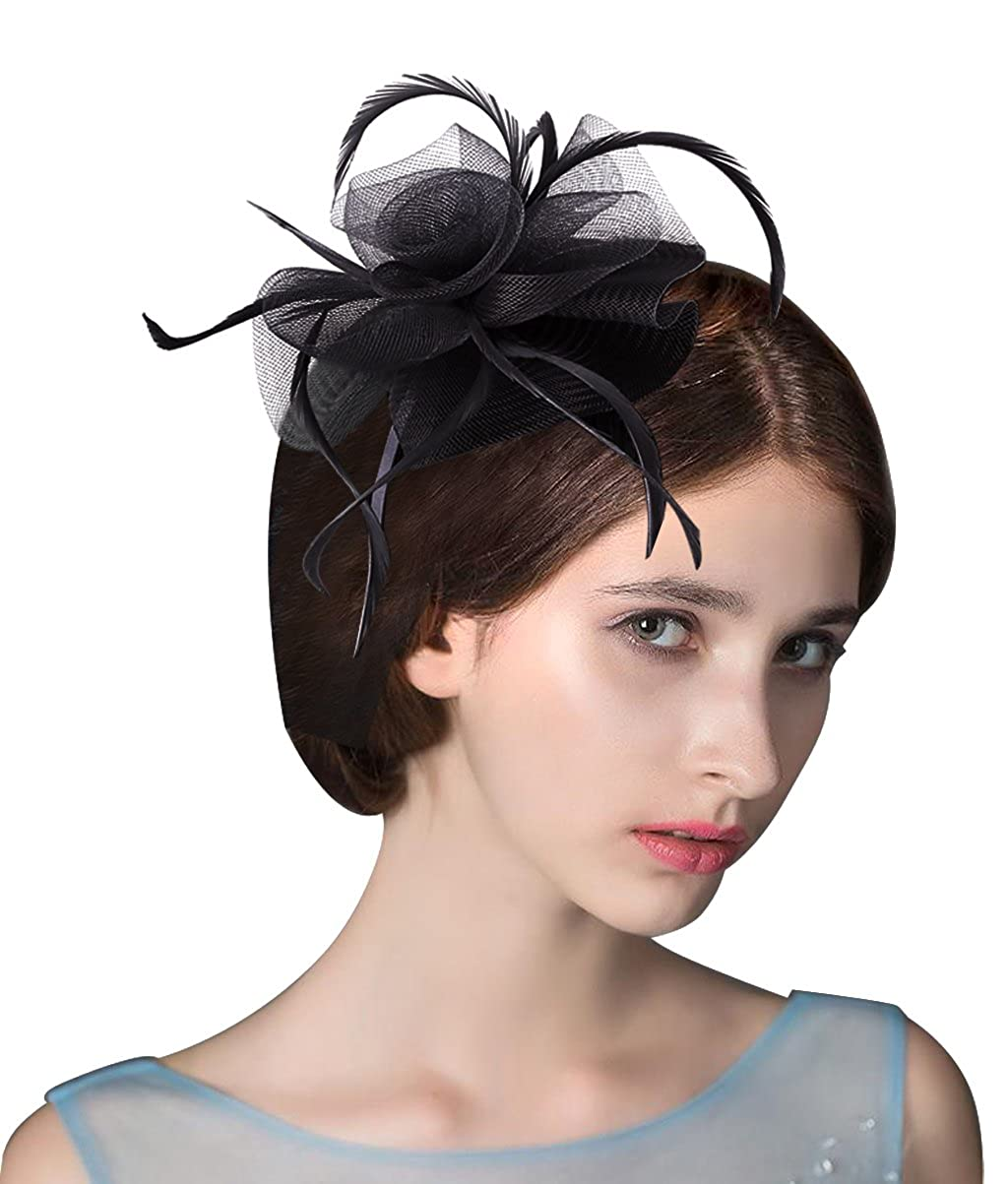 Edith qi Womens Vintage Fascinators Hat Hair Clip Feather Wedding Headwear  1920s Headpiece for Derby Tea Church Party at Amazon Women s Clothing store  c4258358e2c