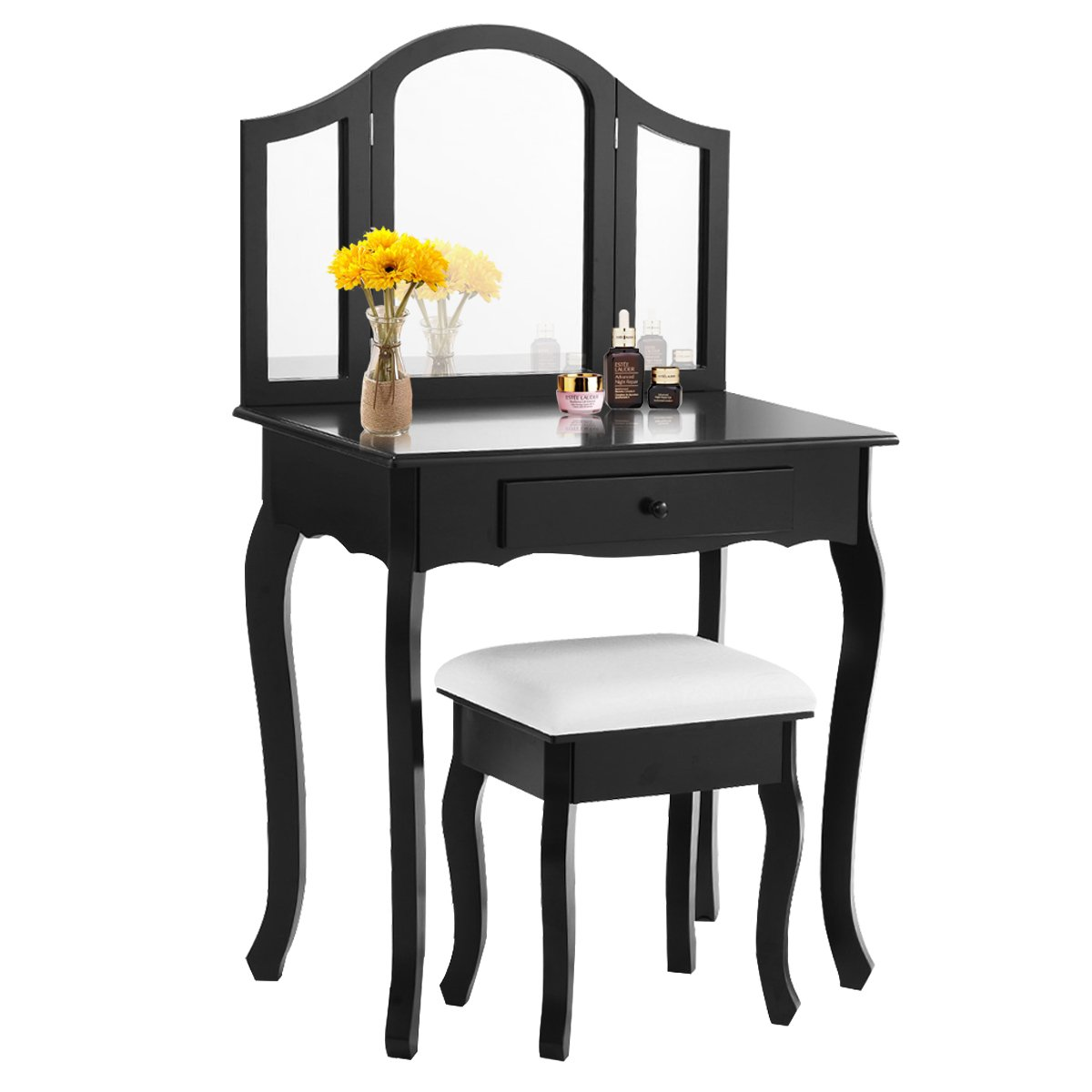Giantex Bathroom Vanity Makeup Table Set w/Tri-folding Mirror & Cushioned Stool Dressing Table (Black)