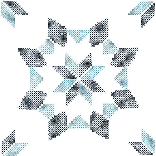 (Jack Dempsey Stamped White Quilt Blocks, 18-Inch by 18-Inch, Interlocking XX Western Star, 6-Pack)