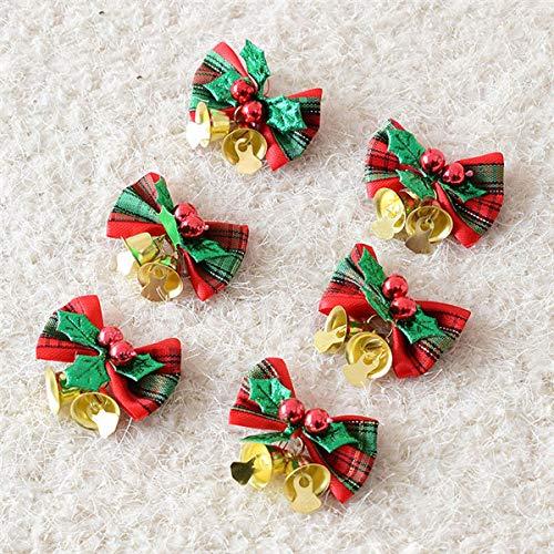 VADOLY 6Pcs Christmas Tree Bells Decoration Bow Ribbon Bow Gift Hanging Hamper Christmas Tree Xmas Decor Supplies