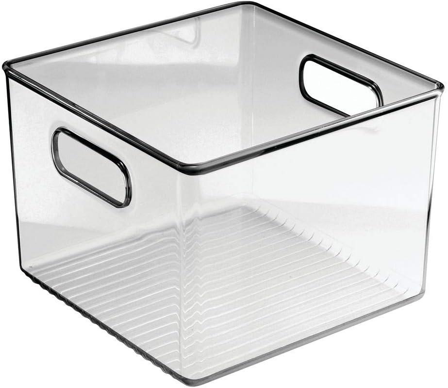 praktische K/ühlschrankbox zur Lebensmittelaufbewahrung Ablage aus BPA-freiem Kunststoff f/ür den K/üchen- oder K/ühlschrank durchsichtig//grau mDesign 4er-Set Aufbewahrungsbox mit Griffen