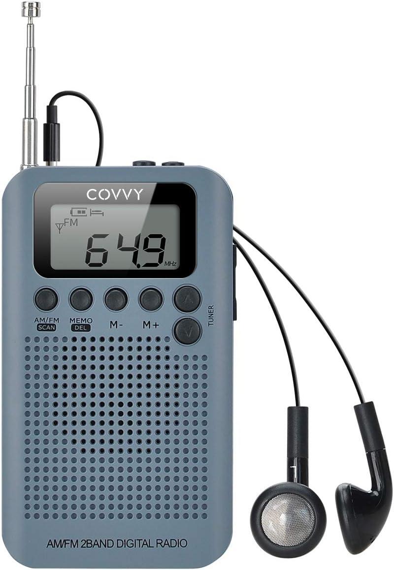 Radio Portátil Pequeña Mini Radio de Bolsillo Am FM Estéreo Sintonización Digital Radio con Altavoz de Sonido Reloj Despertador y Temporizador Auricular