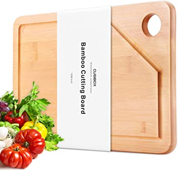 Cusibox Extra Large Bamboo Cutting Board with Juice Drip Groove