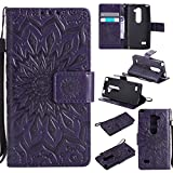 LG Leon LTE C40 H345 MS345 H340 H326 H320 / Tribute 2 LS665 / Sunset L33L / Power L22C / Destiny L21G (Released in 2015) Wallet Phone Case ihreesy Sun Embossed PU Leather Book Folio Cover-Purple