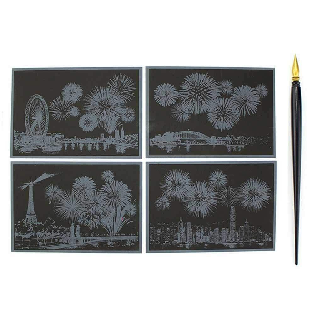 Draw toy 4pcs set est colorful scratch paper fireworks diy