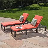 Great Deal Furniture Joyce Outdoor Multibrown Wicker Chaise Lounge with Orange Water Resistant Cushion (Set of 2)