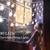 B bangcool Snowflake String Lights Christmas 32.8ft Snowflake Christmas Lights Battery Powered Waterproof Decorations Outdoor Snowflake Lights Decor for Indoor Birthday, Halloween, Thanksgiving, Xmas