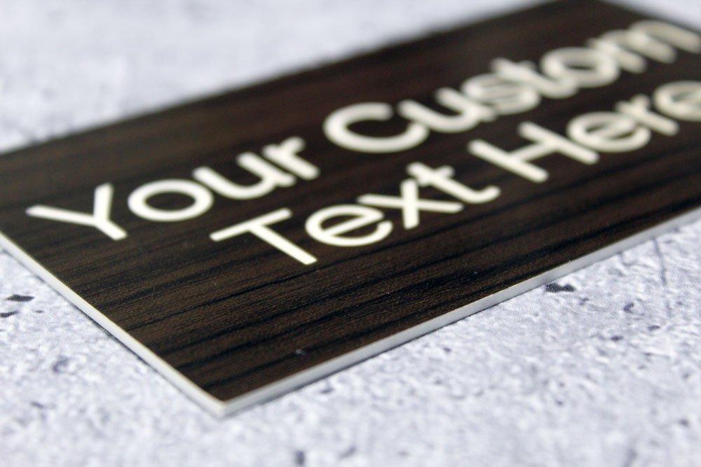 Custom Laser Engraved Sign | Personalized Sign Insert, Door Plaque (10'' x 5'', Kona/White)