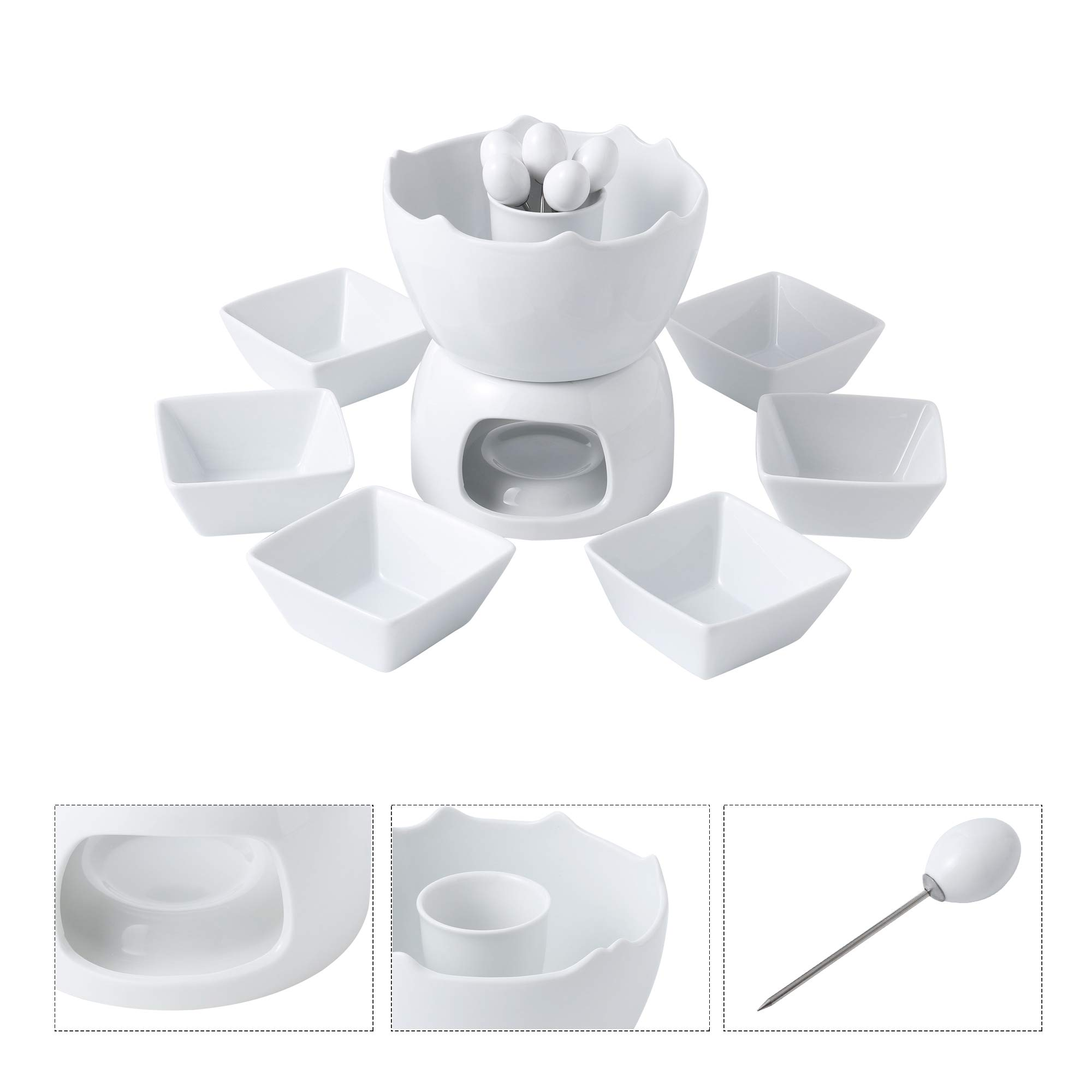 Malacasa Fondue Pot Set Two-layer Porcelain Tealight Chocolate Fondue with Dipping Bowls and Forks for 6, Cheese Fondue or Butter Fondue Set, White by Malacasa (Image #2)