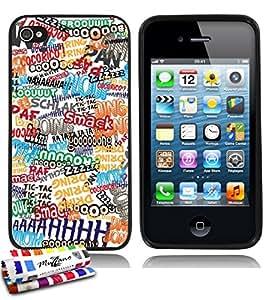 Carcasa Flexible Ultra-Slim APPLE IPHONE 4 de exclusivo motivo [Comics] [Negra] de MUZZANO  + ESTILETE y PAÑO MUZZANO REGALADOS - La Protección Antigolpes ULTIMA, ELEGANTE Y DURADERA para su APPLE IPHONE 4