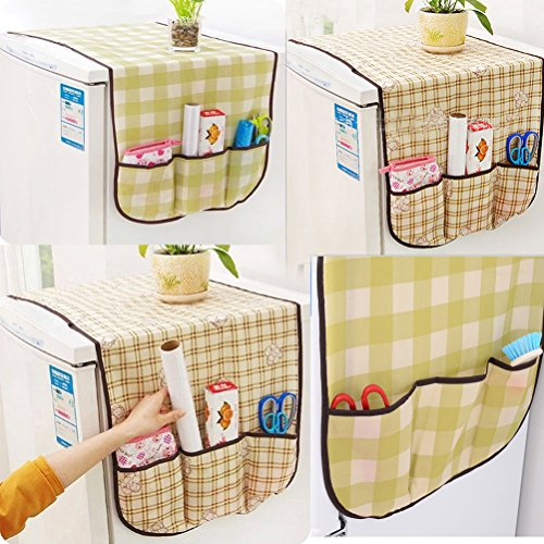 Lattice OUNONA Multi-functional Refrigerator Dust Cover,Washing Machine Top Cover,Universal Sunscreen Cover Storage Bag for Refrigerator and Washing Machine