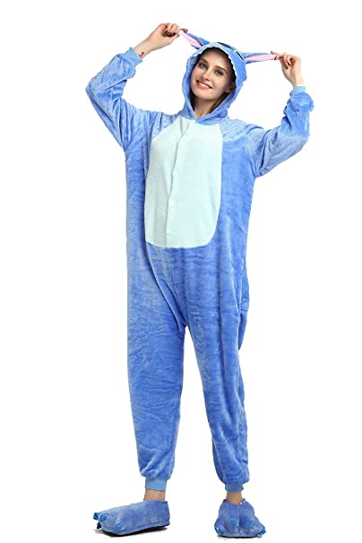 stile unico grande collezione abbigliamento sportivo ad alte prestazioni ROYAL WIND Blu Stitch Kigurumi Pigiama Unisex Adulto Cosplay Halloween  Costume Animale Pigiama (Blue, S)