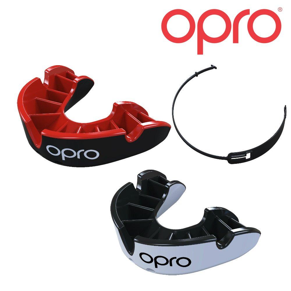 OPRO Protector bucal de Plata + Correa (Paquete de Gancho) para Fútbol, Hockey Sobre Hielo, Lacrosse – 18 Meses de Garantía (Negro y Blanco), Adulto