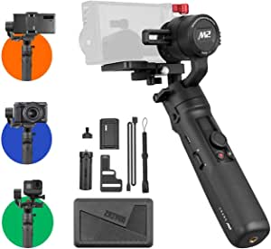 Zhiyun Crane M2 Gimbal [Official Dealer], 3 Axis Handheld Stabilizer for Sony A6000/A6300/A6400/A6500/Canon M6/G7 X Mark II, For GoPro Hero 7/6/5, For Smartphones, Quick On/Off, 720g Max Payload