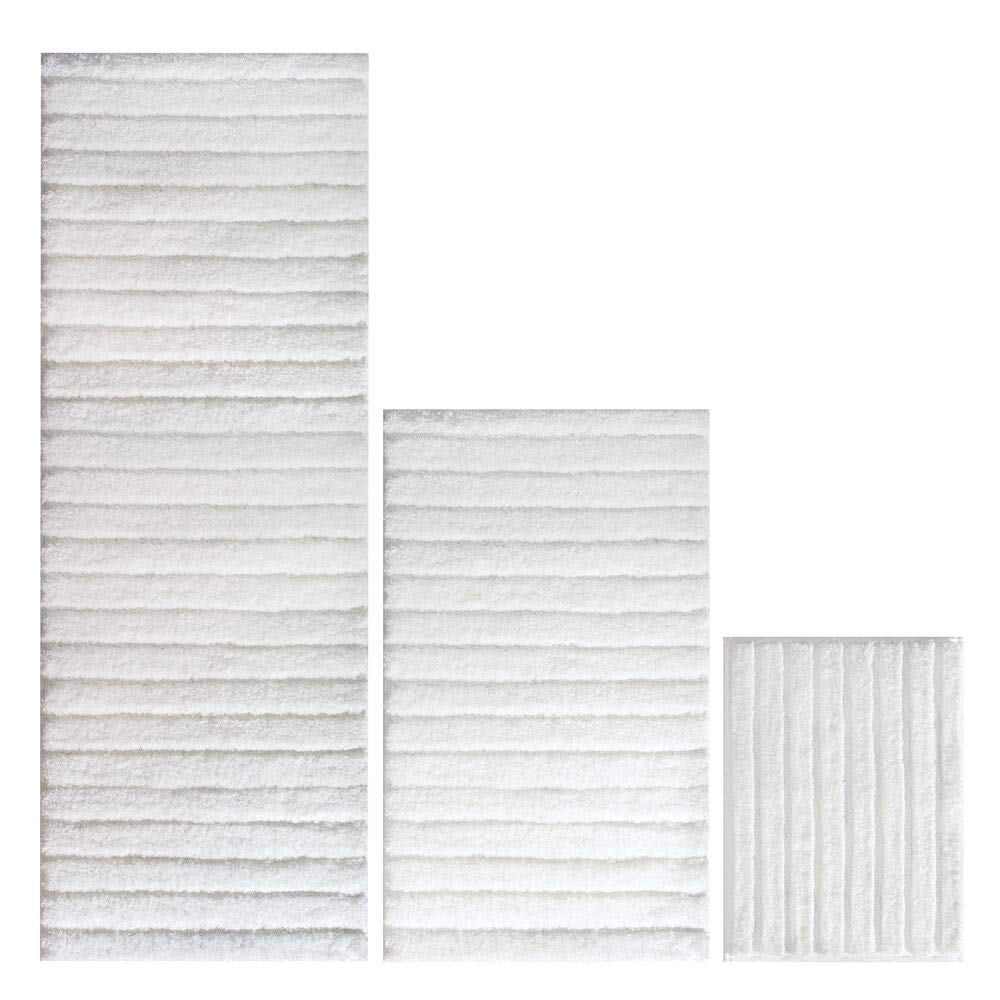 mDesign Soft Microfiber Polyester Spa Rugs for Bathroom Vanity, Tub/Shower - Water Absorbent, Machine Washable - Includes Plush Non-Slip Rectangular Accent Mats in 3 Sizes - Set of 3 - White