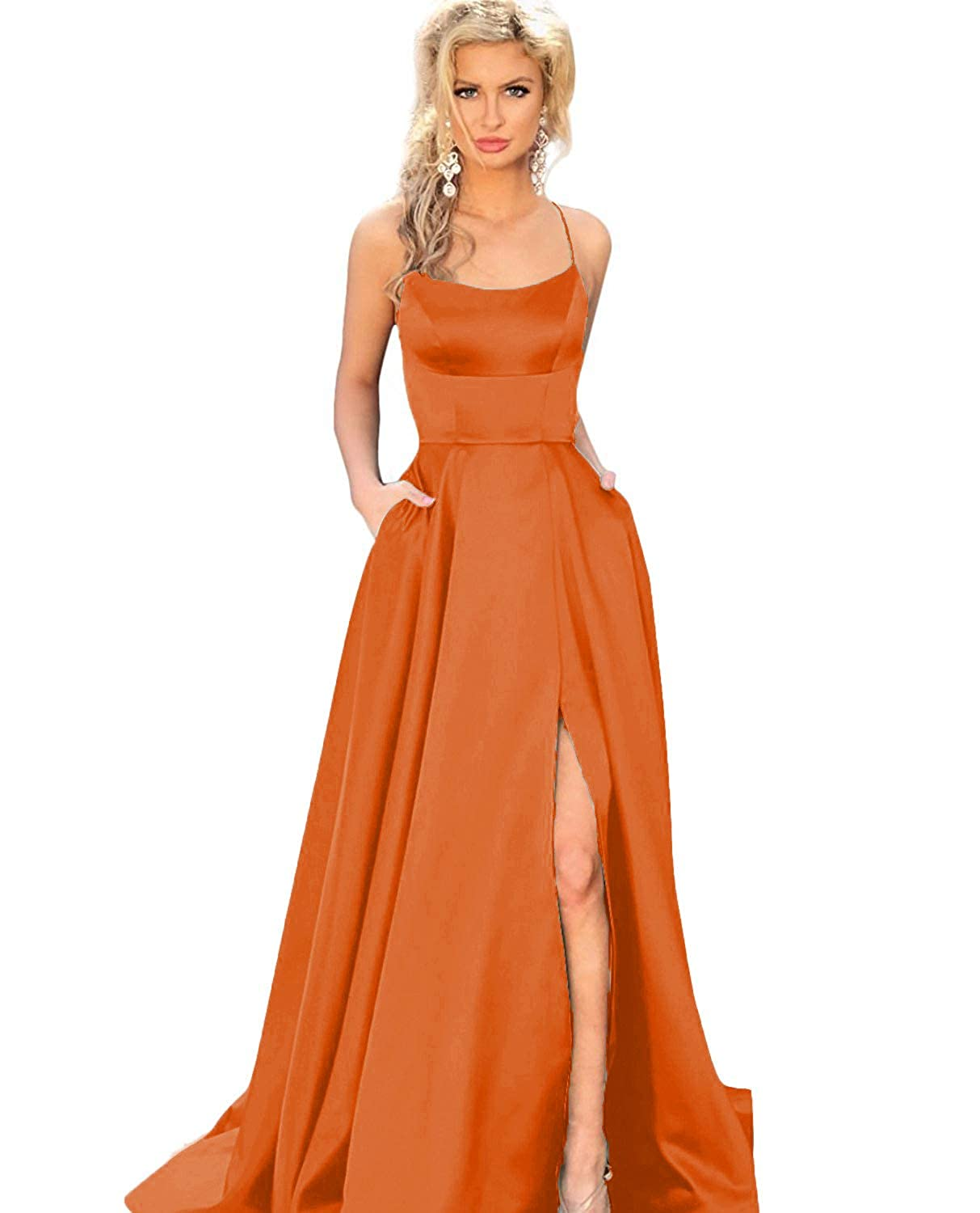 orange YMSHA Womens Long Halter Split Prom Party Dresses with Pockets Spaghetti Straps Evening Formal Gown PM10