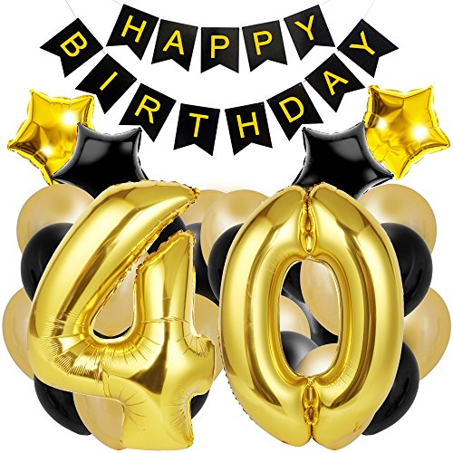 40th Birthday Decorations for the Best 40th Birthday Party - Includes Happy Birthday Banner, Large Number 40 Birthday Latex Balloons + 24 Balloons In Black and Gold. Have a Happy -