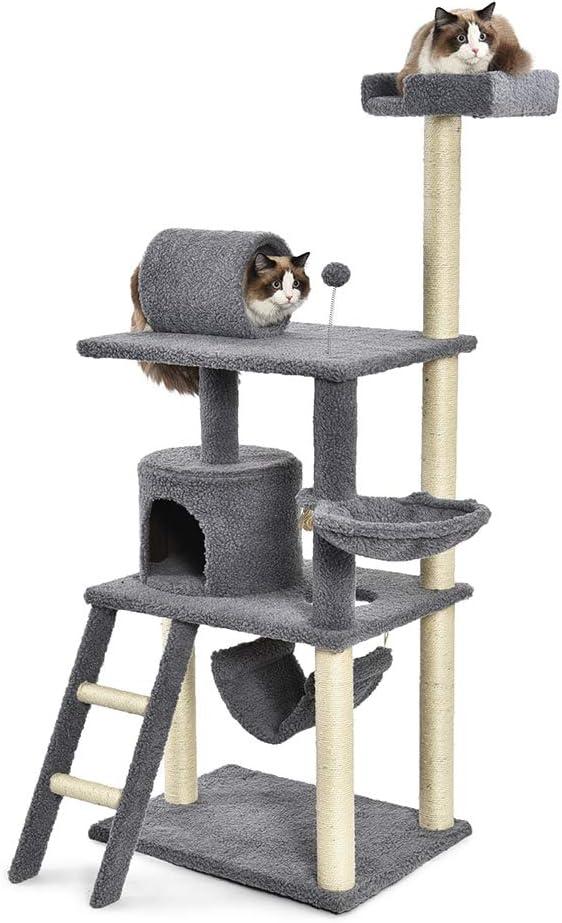 AmazonBasics - Torre en árbol con cerramiento, hamaca y túnel para gatos, grande, 66x157,5x48,3 cm, gris: Amazon.es: Productos para mascotas