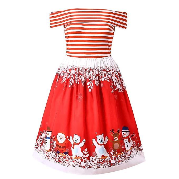TEBAISE Weihnachten Kleid Kleid Damen Minikleid Partykleid Weihnachten  Hirsch Drucken Kurzes Frauen Kleider Weihnachtskleid Christmas Mode 13c717f73e