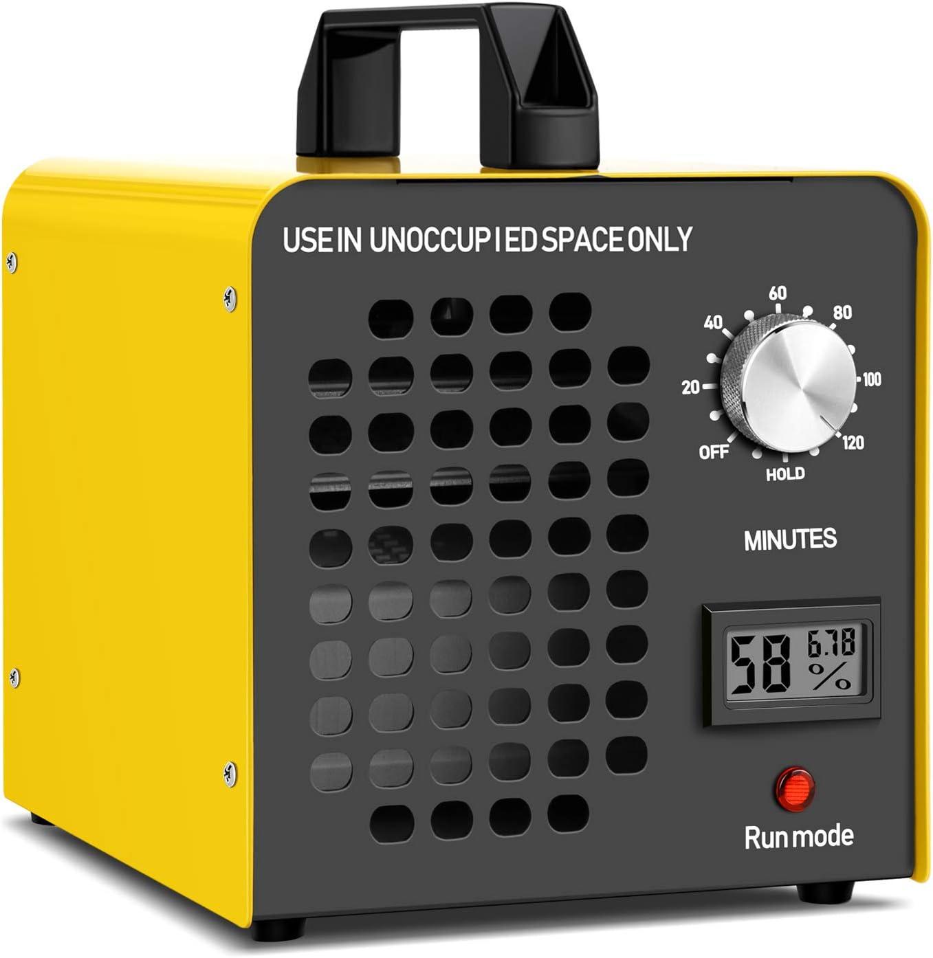 Yousiliang Generador de Ozono Hogar 12000 MG/h Máquina de Ozono para Coche Desinfectador de ozono Purificador Ozono de Aire con Temporizador de 120 min para Eliminaciónn de Olor y Desinfección