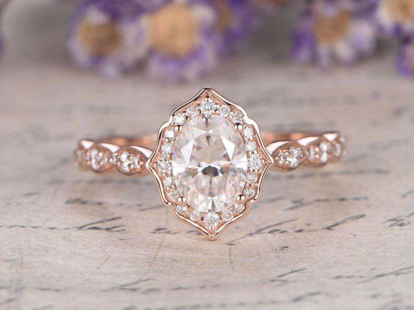 Moissanite Engagement Ring Oval Engagement Ring Vintage Engagement Ring Solid 14K Gold Engagement Ring Oval Moissanite Engagement Ring