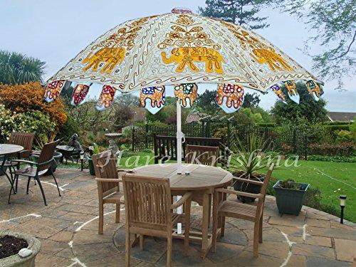 Hare Krishna Vintage Garden Umbrella Cotton Outdoor Sun Large Parasol 70 x 90 Inches ()