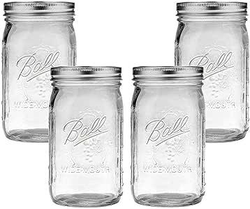 Ball Mason Jar-32 oz. Clear Glass Wide Mouth - Set of 4