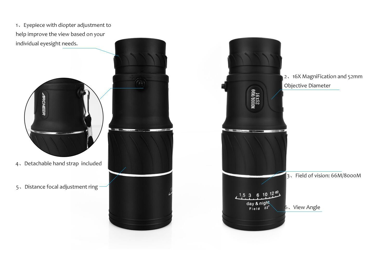 Amazon archeer monocular dual focus optics zoom