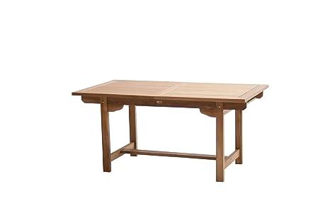Mesa de jardín extensible Nancy 160 (210) x 100 x 75 cm madera de ...