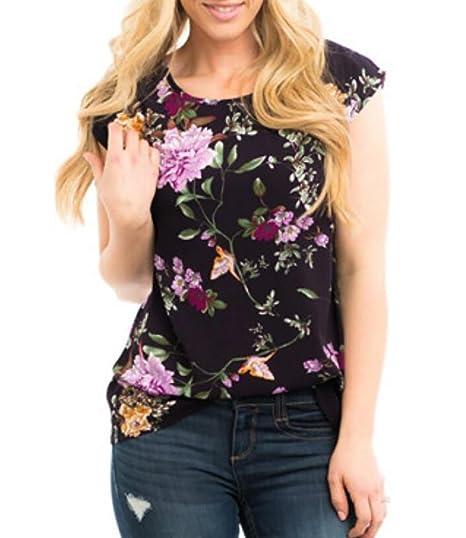 78350355e2810 JXG-Women Summer Floral Print Short Sleeve T Shirts Blouse Tops Tee ...