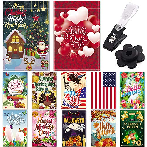 "Season Garden Flags – Set of 12 Garden Flags – Double Sided Outdoor Holidays Yard Flags – Made of Polyester with Anti-Wind Clip & Rubber Stopper Included – Holidays Flags for 12 Months – 12""x18"" Size"