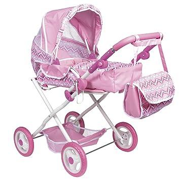 ColorBaby - Carrito de paseo con bolsa y muñeca, color rosa con corazones (43103)