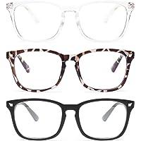 Gaoye 3-Pack Blue Light Blocking Glasses, Fashion Square Fake Nerd Eyewear Anti UV Ray Computer Gaming Eyeglasses Women…