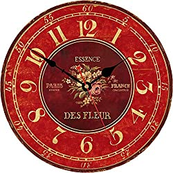 VIKMARI 14 Inch Silent Non-Ticking French Red Flowers Design Wall Clock Round Wooden Wall Clocks Battery Operated Indoor Vintage Clocks for Kitchen,Living Room,Bedroom,Dining Room,Office and School