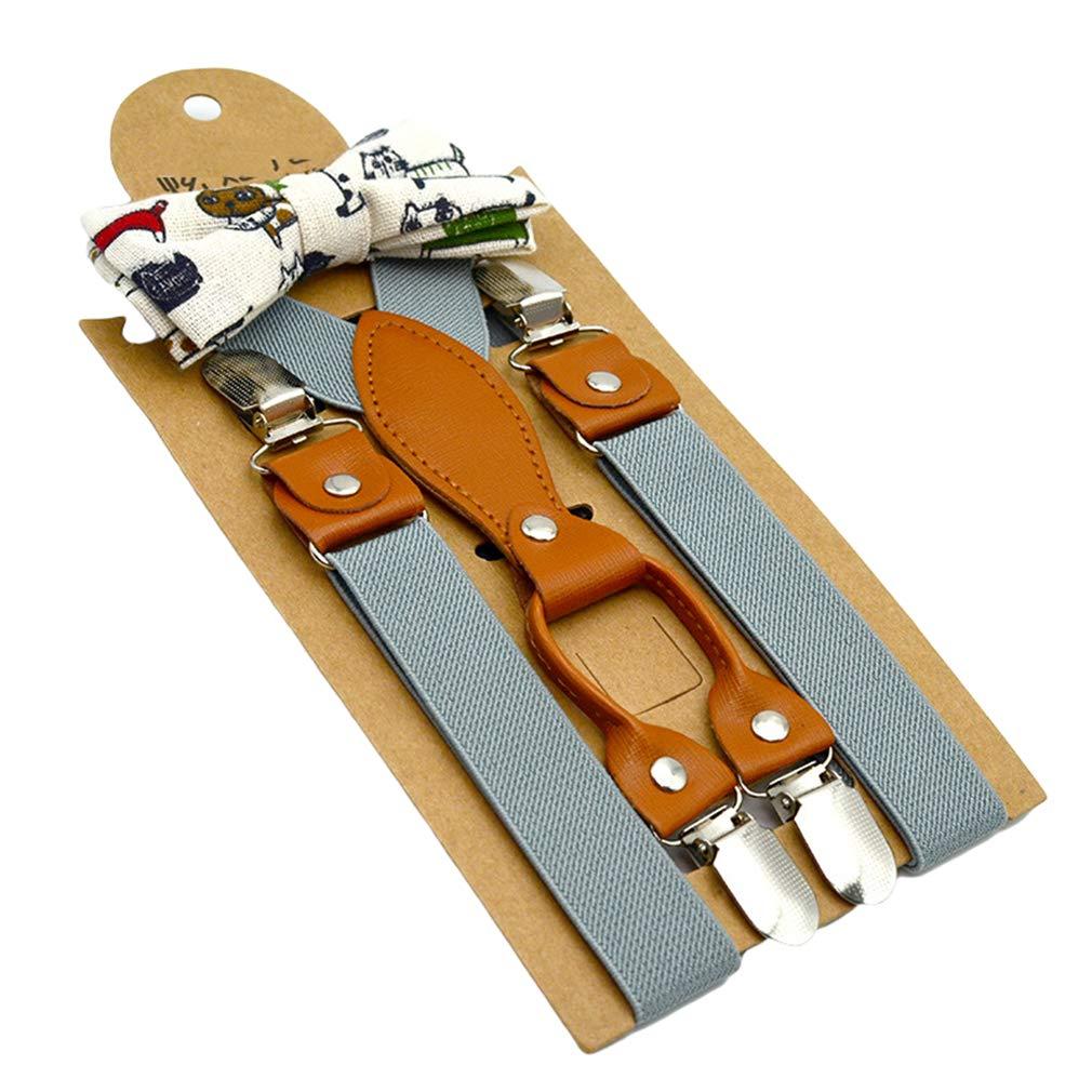MOHSLEE Boys Kid Elastic 1Wide Y Back Suspenders Bow Tie Set /& 3 Leather Clips