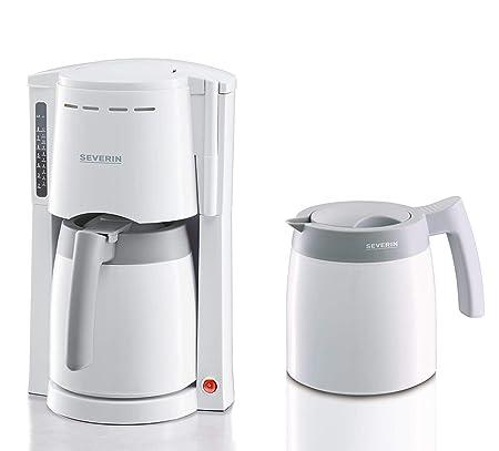 SEVERIN KA 9233 Cafetera para filtros de Café Molido, 8 tazas incluye 2 jarras termo, blanco