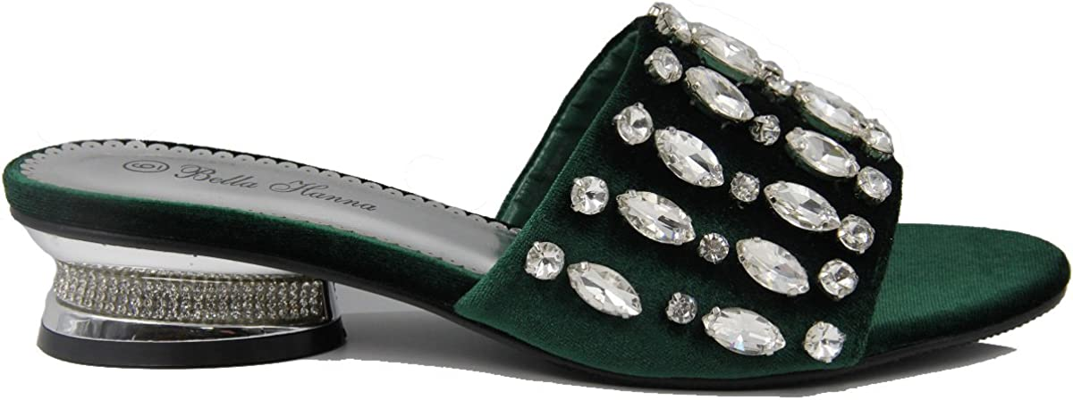 Stylish /& Comfort Shoes Womens Sparkling Rhinestone Covered Open Toe Adjustable Ankle Strap Low Chunky Heeled Sandals//Slip-on Fashion Sandals