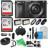 Sony Alpha a6000 Camera w/ 16-50mm Lens, Two 64GB SD Card + Ultimate DigitalAndMore Accessory Bundle