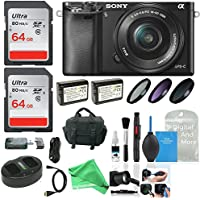 Sony Alpha a6000 Camera w/ 16-50mm Lens, Two 64GB SD Card + Ultimate DigitalAndMore Accessory Bundle
