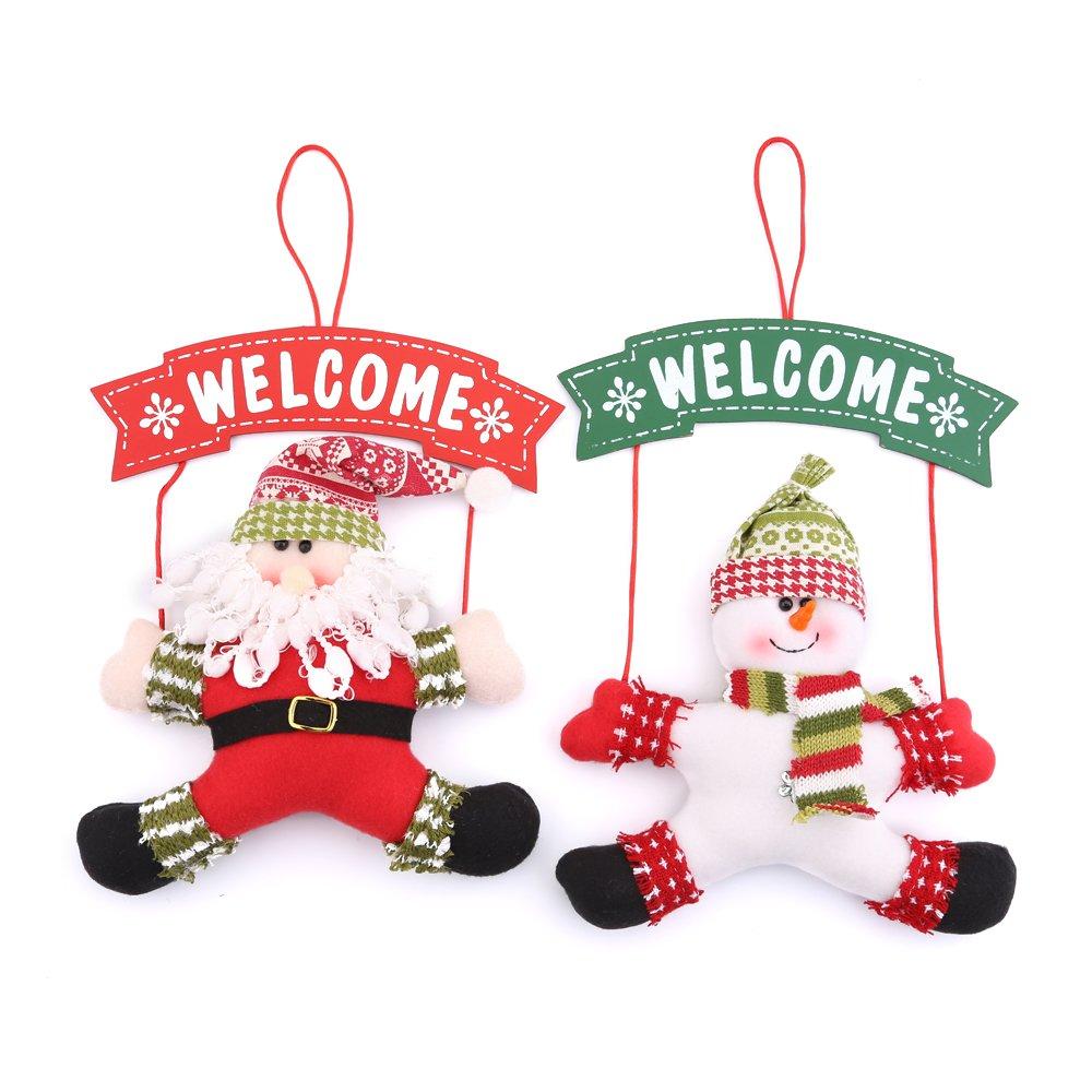 Zogin Christmas Door Hanging Ornaments, Santa Snowman Door Knob Hanger Christmas Tree Pendants Decoration (2pcs)